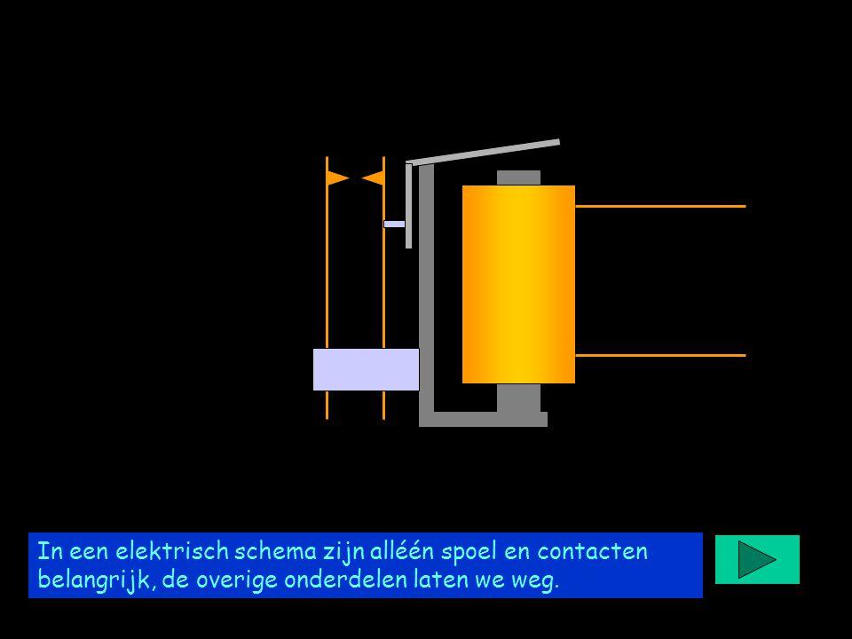Project easyrelais In een elektrisch schema zijn alléén spoel en contacten belangrijk, de overige onderdelen laten we weg.