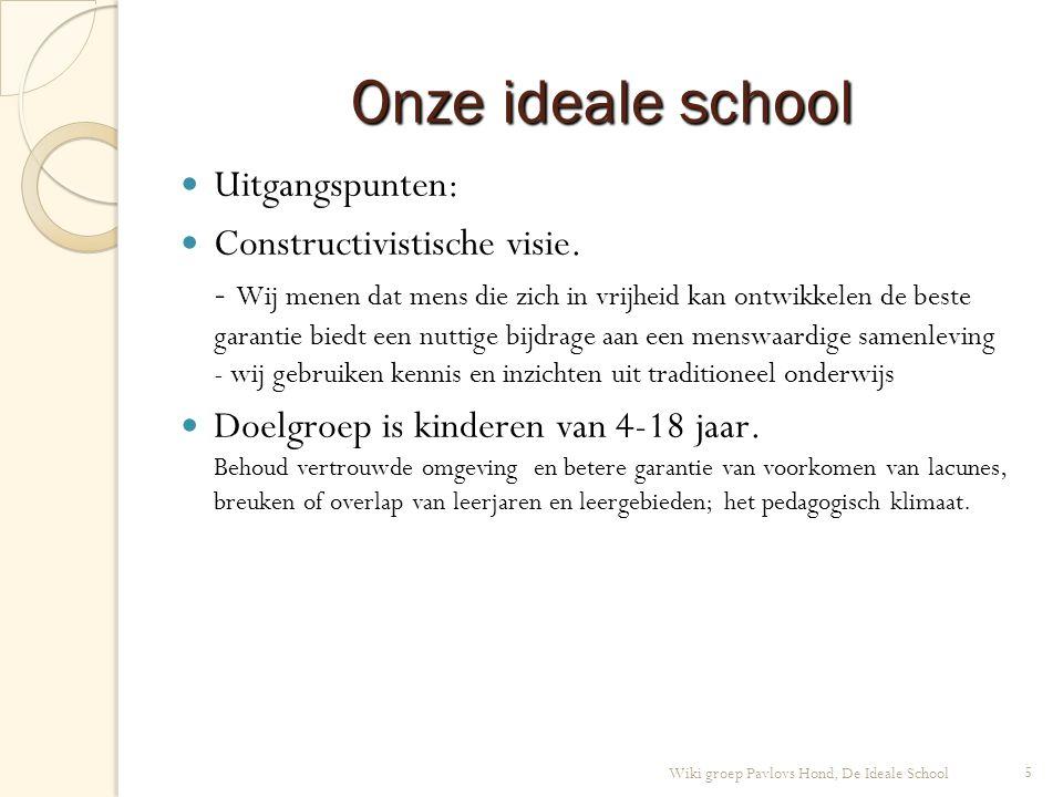 5 Wiki groep Pavlovs Hond, De Ideale School Onze ideale school Uitgangspunten: Constructivistische visie.