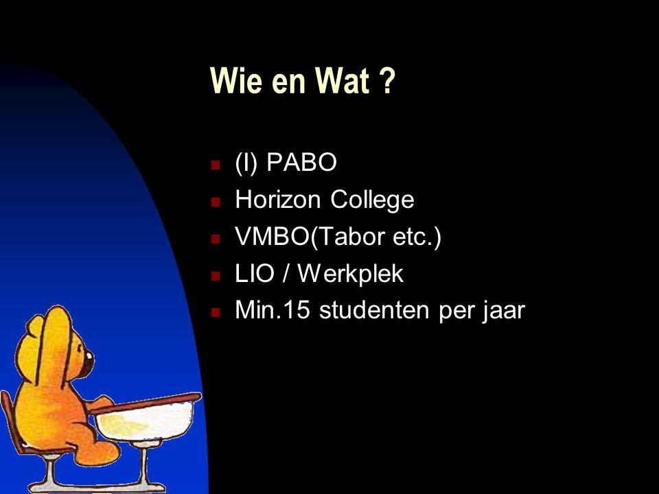 Wie en Wat (I) PABO Horizon College VMBO(Tabor etc.) LIO / Werkplek Min.15 studenten per jaar