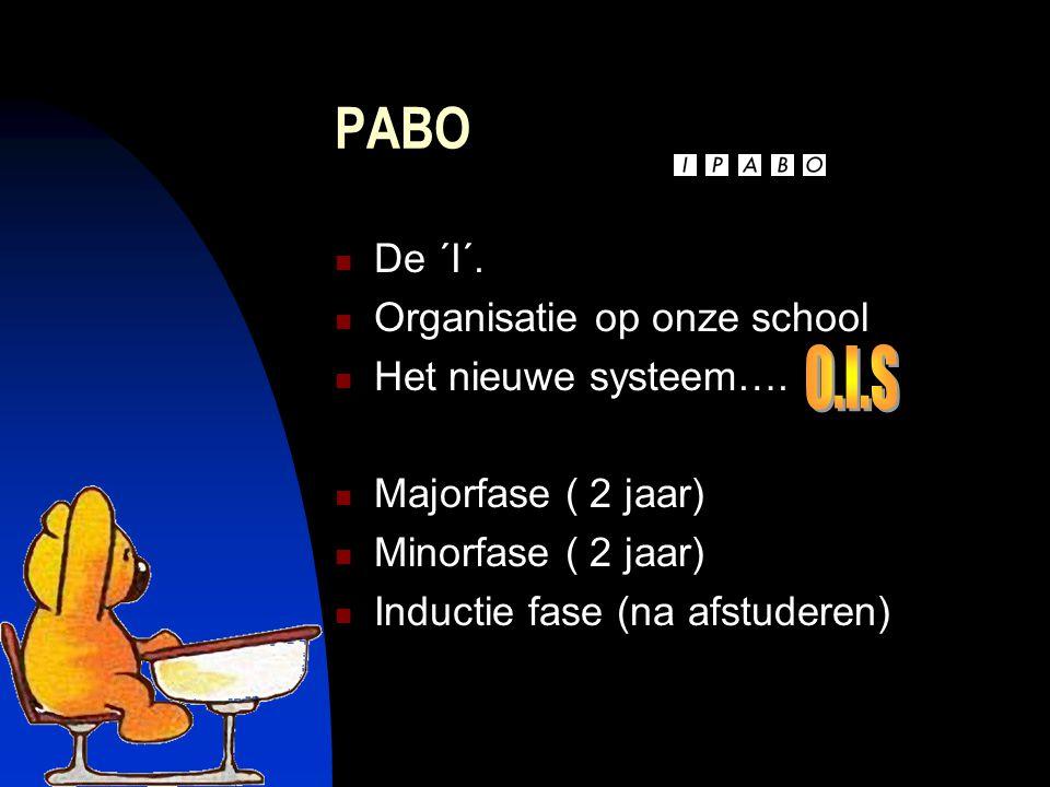 PABO De ´I´. Organisatie op onze school Het nieuwe systeem….