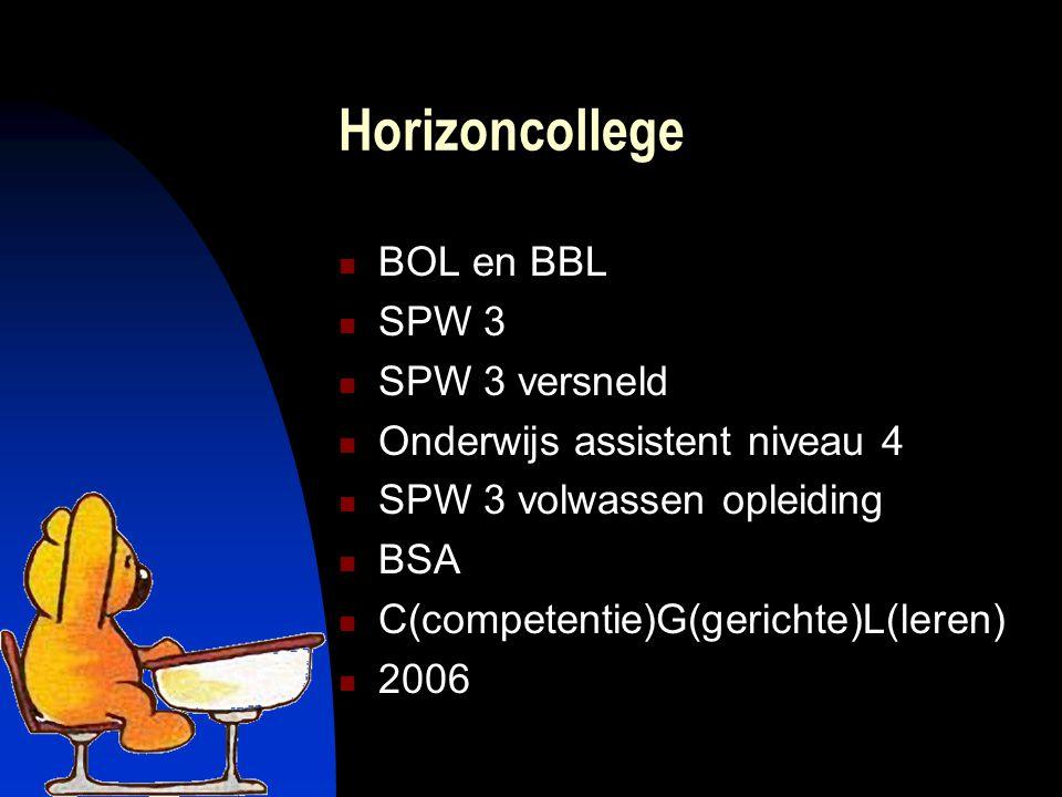 Horizoncollege BOL en BBL SPW 3 SPW 3 versneld Onderwijs assistent niveau 4 SPW 3 volwassen opleiding BSA C(competentie)G(gerichte)L(leren) 2006