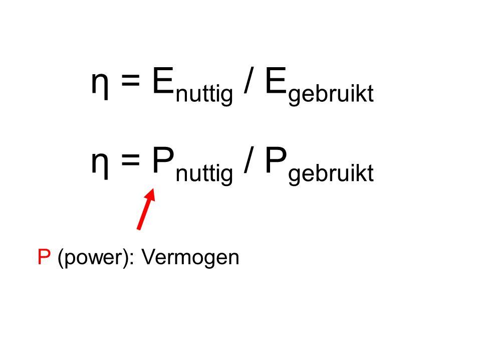 η = E nuttig / E gebruikt η = P nuttig / P gebruikt P (power): Vermogen