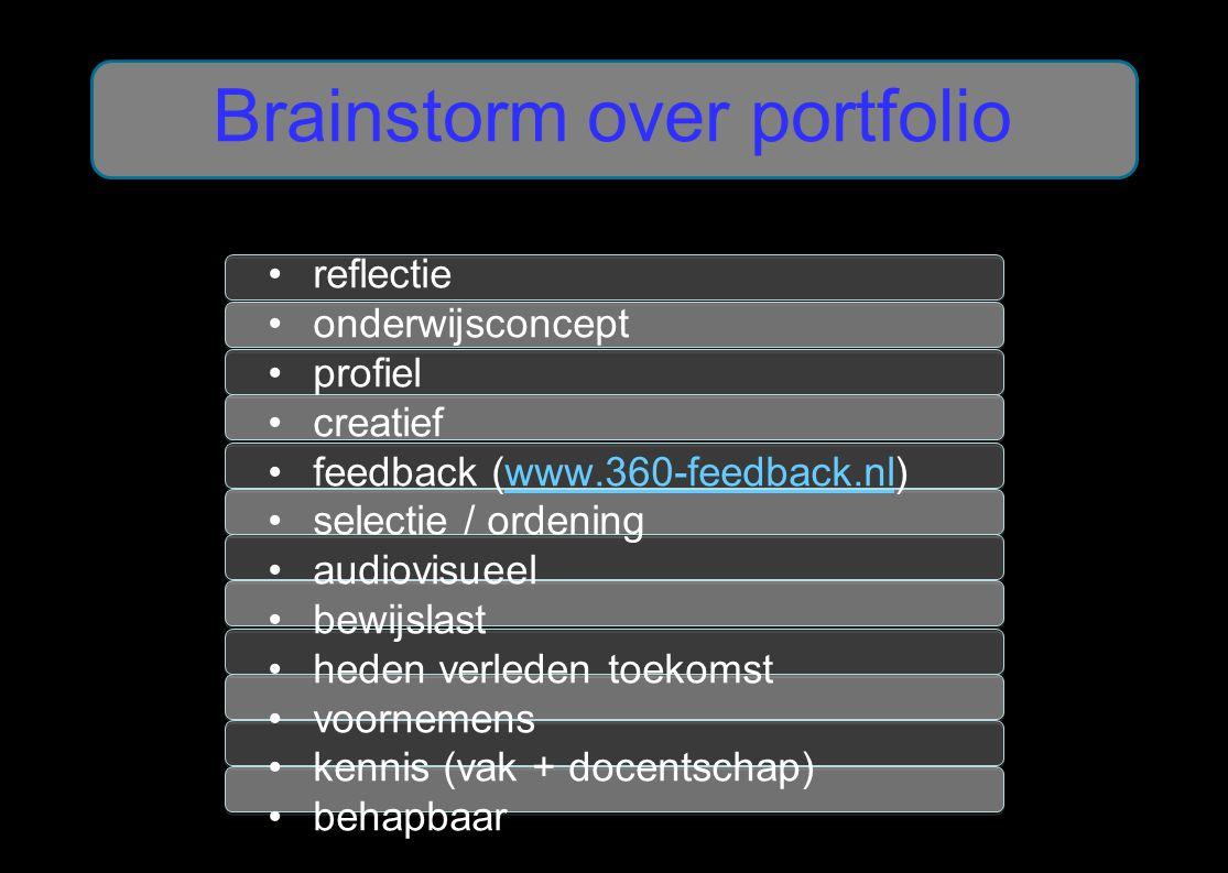 reflectie onderwijsconcept profiel creatief feedback (www.360-feedback.nl)www.360-feedback.nl selectie / ordening audiovisueel bewijslast heden verled