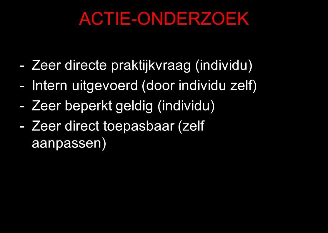 ACTIE-ONDERZOEK -Zeer directe praktijkvraag (individu) -Intern uitgevoerd (door individu zelf) -Zeer beperkt geldig (individu) -Zeer direct toepasbaar
