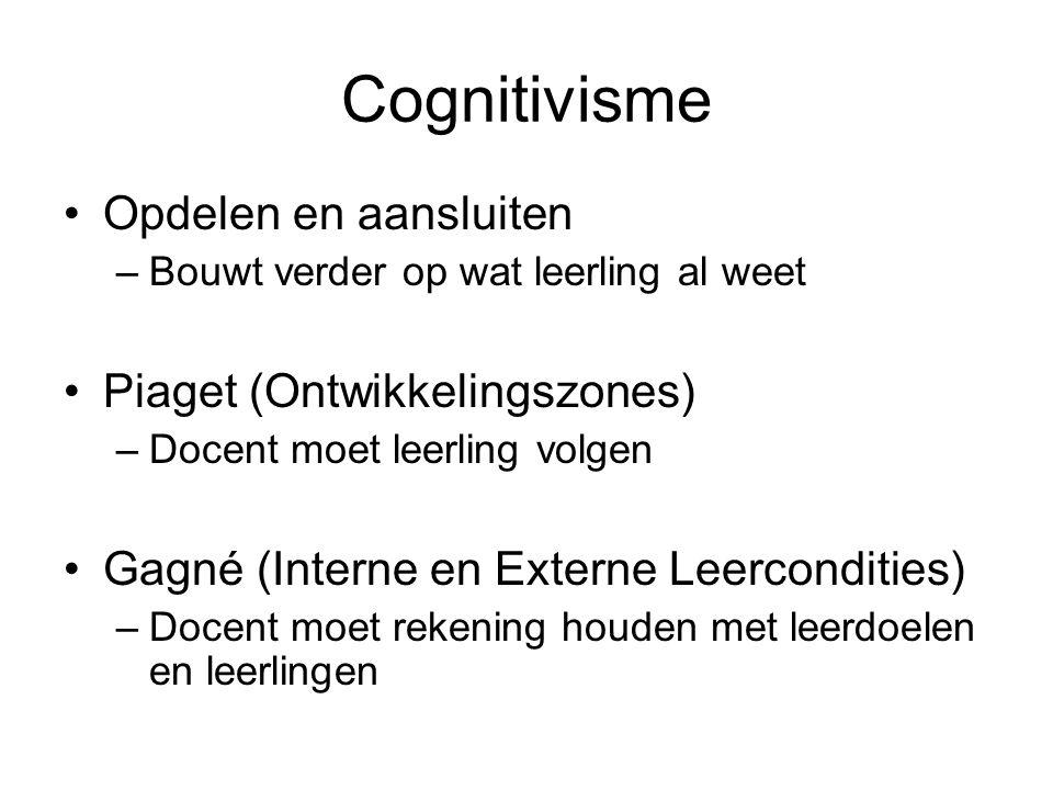 Cognitivisme Opdelen en aansluiten –Bouwt verder op wat leerling al weet Piaget (Ontwikkelingszones) –Docent moet leerling volgen Gagné (Interne en Ex