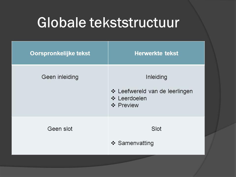 Globale tekststructuur Oorspronkelijke tekstHerwerkte tekst Geen inleidingInleiding  Leefwereld van de leerlingen  Leerdoelen  Preview Geen slotSlo
