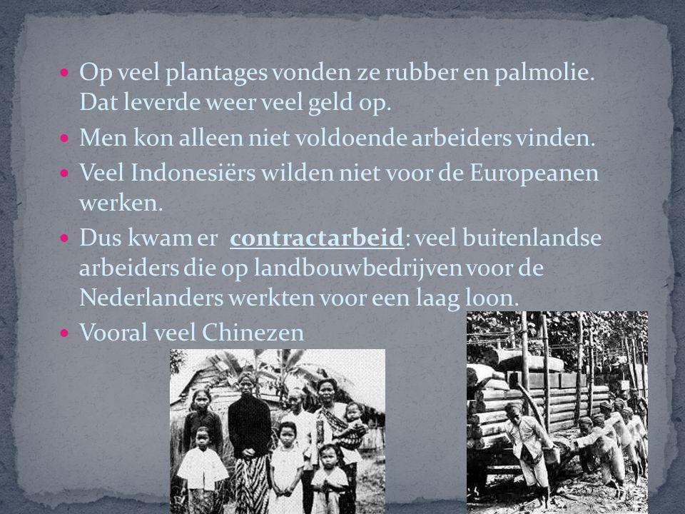 Op veel plantages vonden ze rubber en palmolie.Dat leverde weer veel geld op.