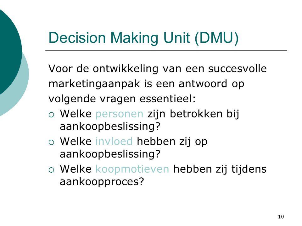 10 Decision Making Unit (DMU) Voor de ontwikkeling van een succesvolle marketingaanpak is een antwoord op volgende vragen essentieel:  Welke personen zijn betrokken bij aankoopbeslissing.