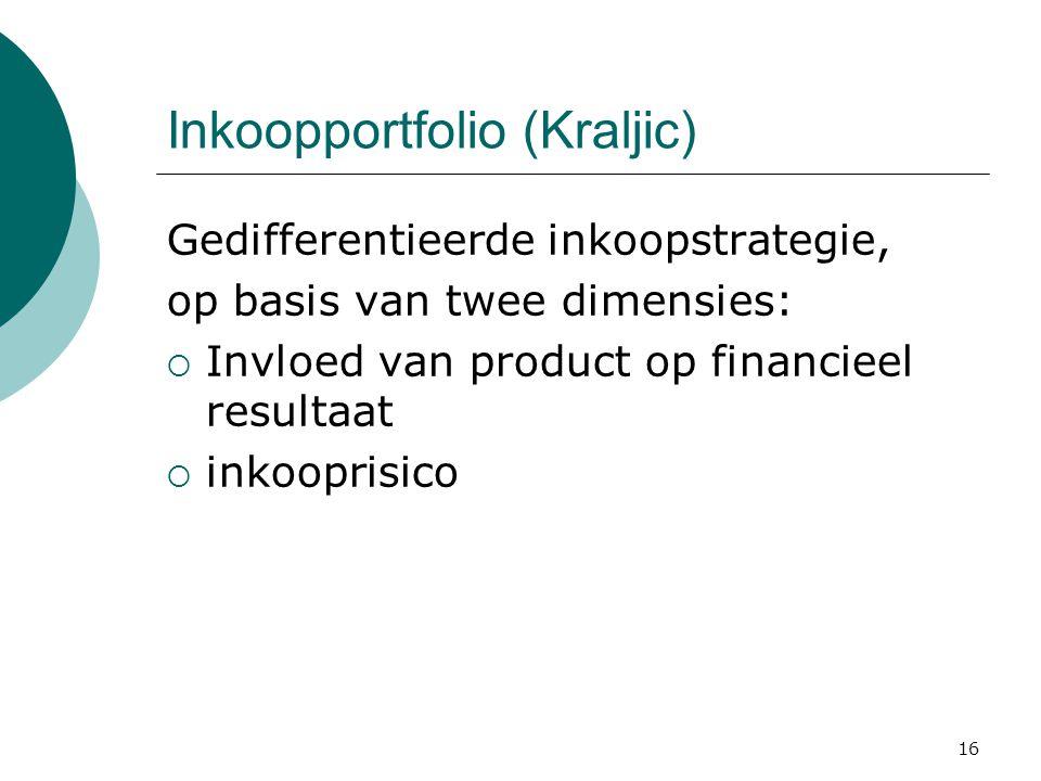 16 Inkoopportfolio (Kraljic) Gedifferentieerde inkoopstrategie, op basis van twee dimensies:  Invloed van product op financieel resultaat  inkooprisico