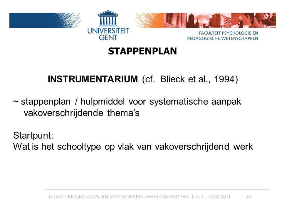 34 INSTRUMENTARIUM (cf. Blieck et al., 1994) ~ stappenplan / hulpmiddel voor systematische aanpak vakoverschrijdende thema's Startpunt: Wat is het sch