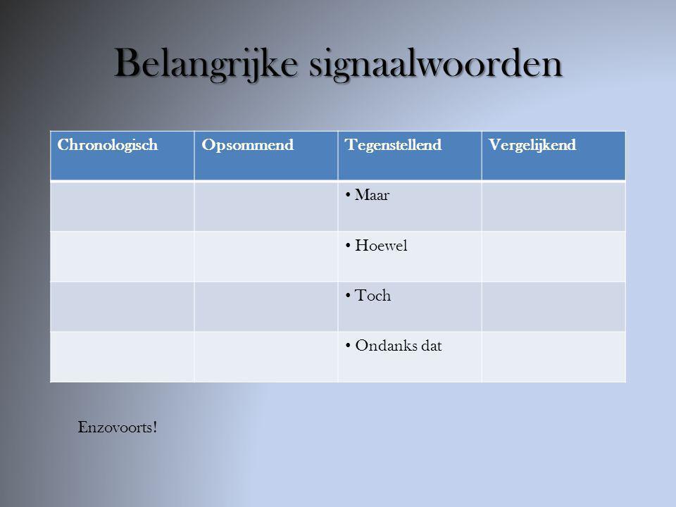 Belangrijke signaalwoorden ChronologischOpsommendTegenstellendVergelijkend Net zoals Groter / kleiner dan Evenals Meer / minder dan Enzovoorts!