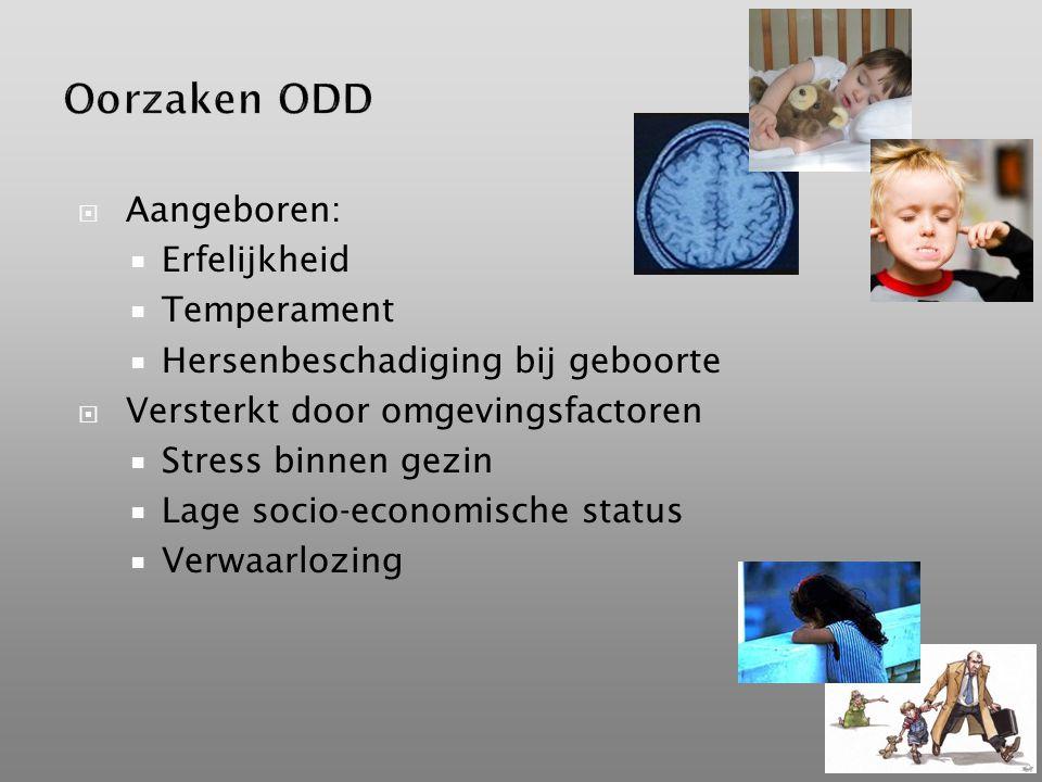  Aangeboren:  Erfelijkheid  Temperament  Hersenbeschadiging bij geboorte  Versterkt door omgevingsfactoren  Stress binnen gezin  Lage socio-economische status  Verwaarlozing