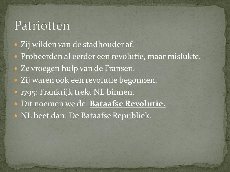 Zij wilden van de stadhouder af. Probeerden al eerder een revolutie, maar mislukte. Ze vroegen hulp van de Fransen. Zij waren ook een revolutie begonn