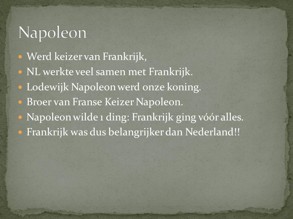 Werd keizer van Frankrijk, NL werkte veel samen met Frankrijk. Lodewijk Napoleon werd onze koning. Broer van Franse Keizer Napoleon. Napoleon wilde 1