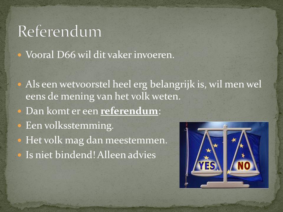 Vooral D66 wil dit vaker invoeren.