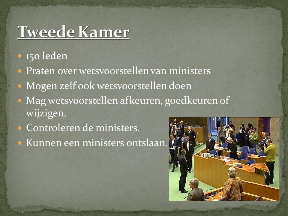 150 leden Praten over wetsvoorstellen van ministers Mogen zelf ook wetsvoorstellen doen Mag wetsvoorstellen afkeuren, goedkeuren of wijzigen.