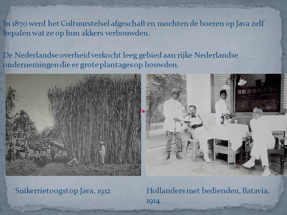 In 1870 werd het Cultuurstelsel afgeschaft en mochten de boeren op Java zelf bepalen wat ze op hun akkers verbouwden. De Nederlandse overheid verkocht