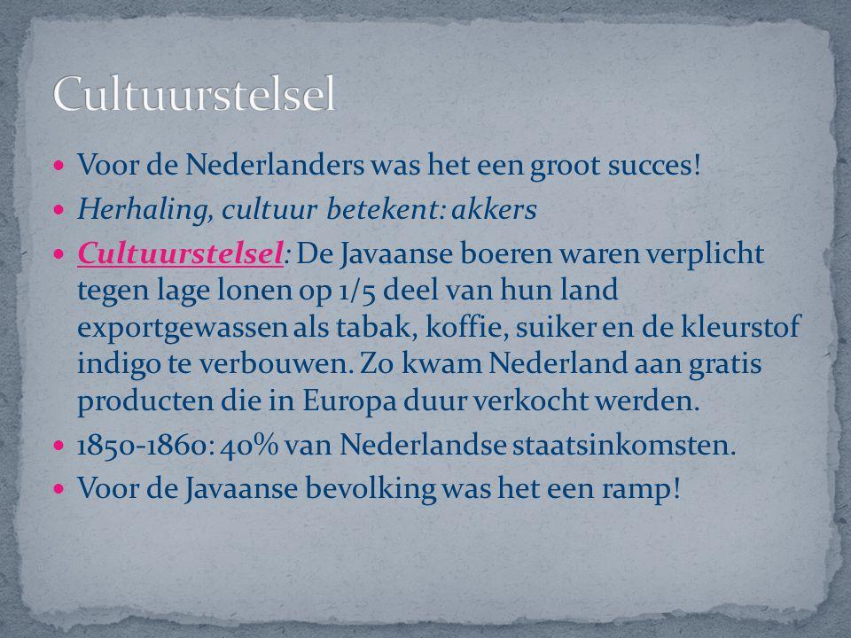 Voor de Nederlanders was het een groot succes! Herhaling, cultuur betekent: akkers Cultuurstelsel: De Javaanse boeren waren verplicht tegen lage lonen