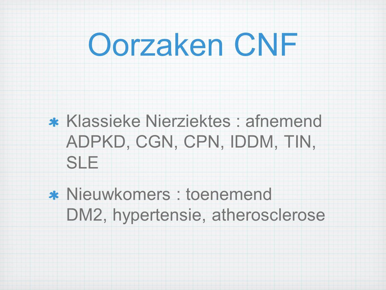 Oorzaken CNF Klassieke Nierziektes : afnemend ADPKD, CGN, CPN, IDDM, TIN, SLE Nieuwkomers : toenemend DM2, hypertensie, atherosclerose