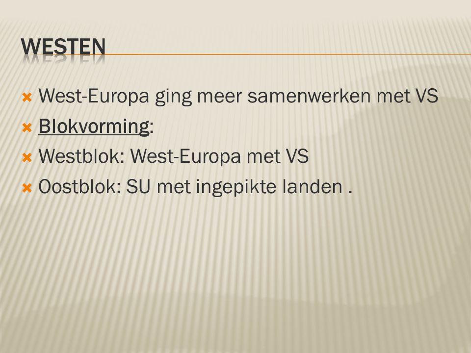  West-Europa ging meer samenwerken met VS  Blokvorming:  Westblok: West-Europa met VS  Oostblok: SU met ingepikte landen.