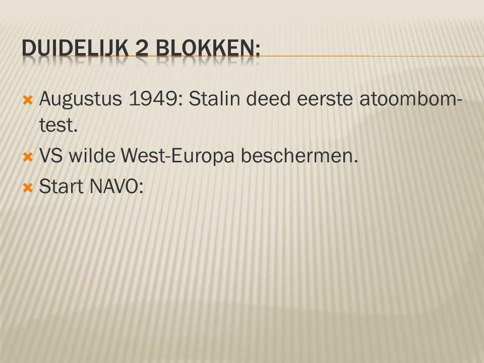  Augustus 1949: Stalin deed eerste atoombom- test.  VS wilde West-Europa beschermen.  Start NAVO: