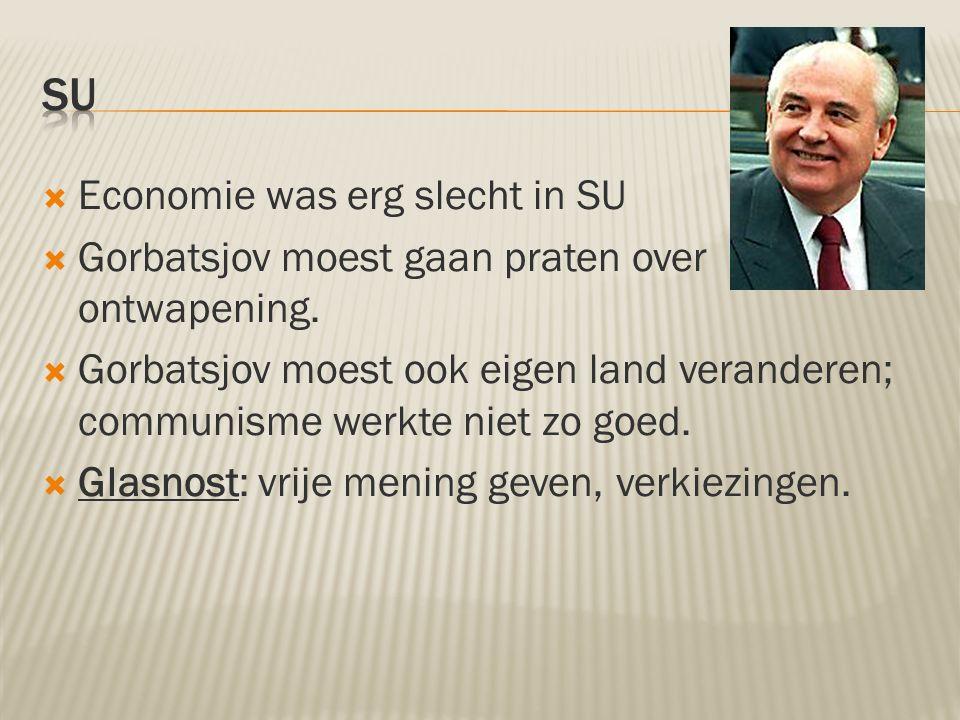  Economie was erg slecht in SU  Gorbatsjov moest gaan praten over ontwapening.  Gorbatsjov moest ook eigen land veranderen; communisme werkte niet