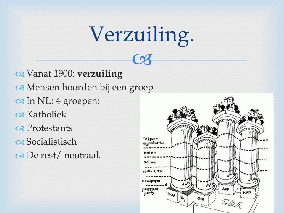   Vanaf 1900: verzuiling  Mensen hoorden bij een groep  In NL: 4 groepen:  Katholiek  Protestants  Socialistisch  De rest/ neutraal. Verzuilin