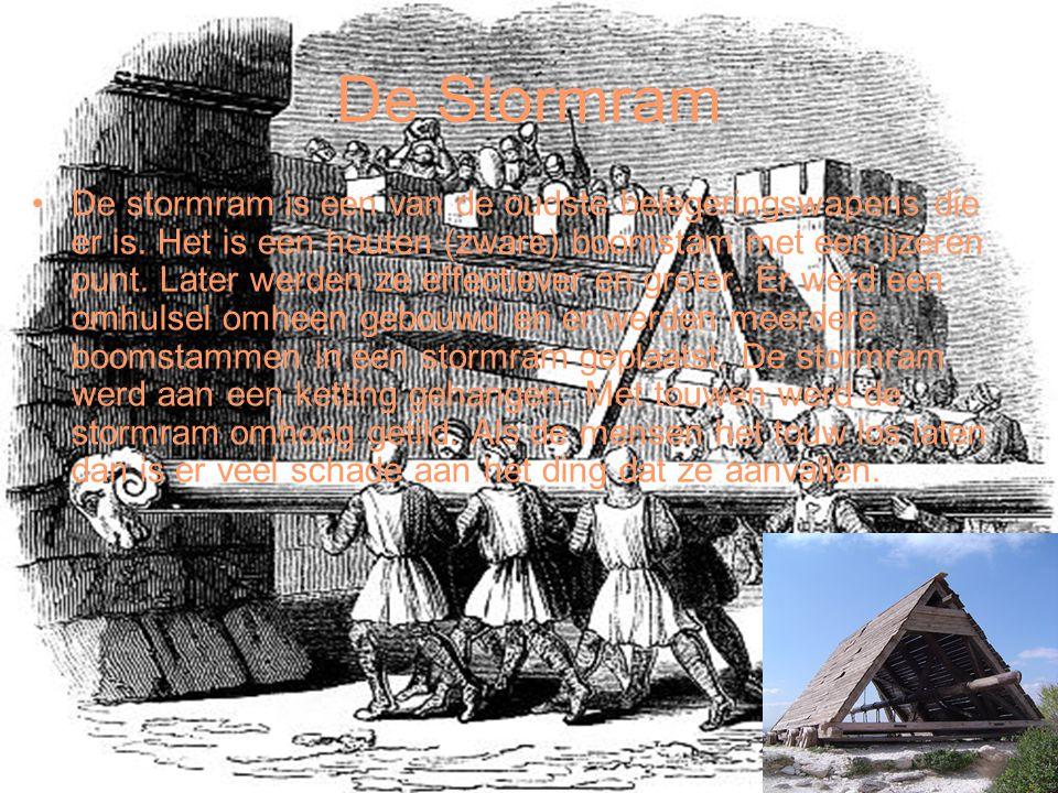 De Stormram De stormram is een van de oudste belegeringswapens die er is. Het is een houten (zware) boomstam met een ijzeren punt. Later werden ze eff
