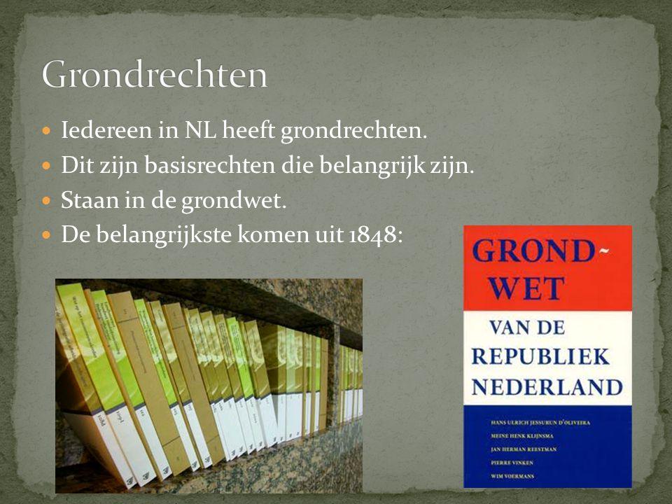 Iedereen in NL heeft grondrechten. Dit zijn basisrechten die belangrijk zijn. Staan in de grondwet. De belangrijkste komen uit 1848: