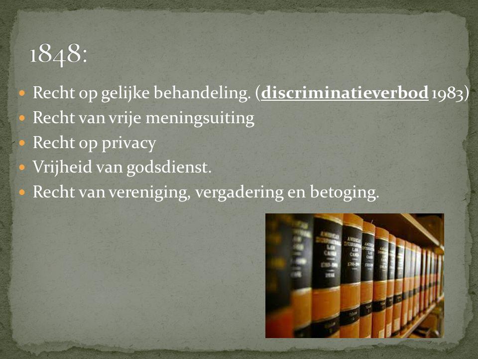 Recht op gelijke behandeling. (discriminatieverbod 1983) Recht van vrije meningsuiting Recht op privacy Vrijheid van godsdienst. Recht van vereniging,