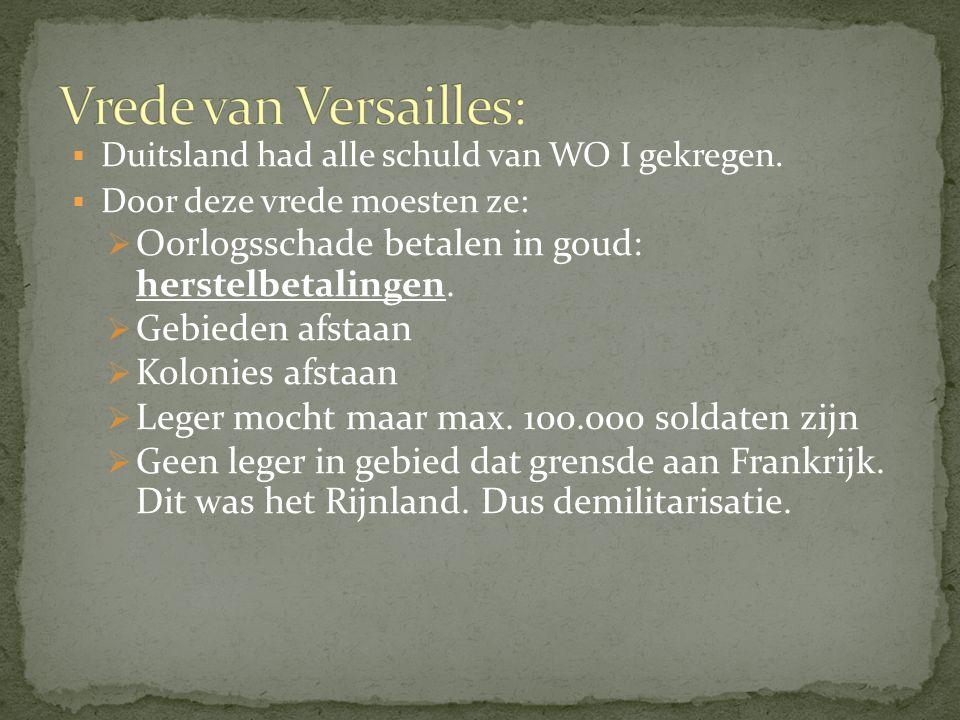  Duitsland had alle schuld van WO I gekregen.  Door deze vrede moesten ze:  Oorlogsschade betalen in goud: herstelbetalingen.  Gebieden afstaan 