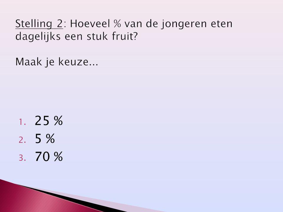 1. 25 % 2. 5 % 3. 70 %