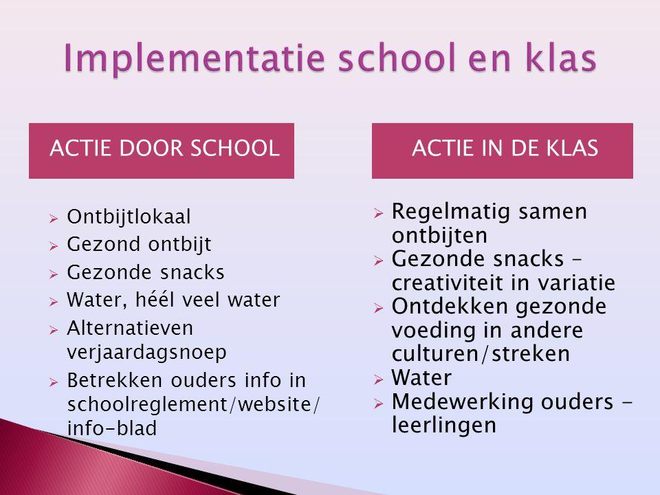 ACTIE DOOR SCHOOL  Ontbijtlokaal  Gezond ontbijt  Gezonde snacks  Water, héél veel water  Alternatieven verjaardagsnoep  Betrekken ouders info i