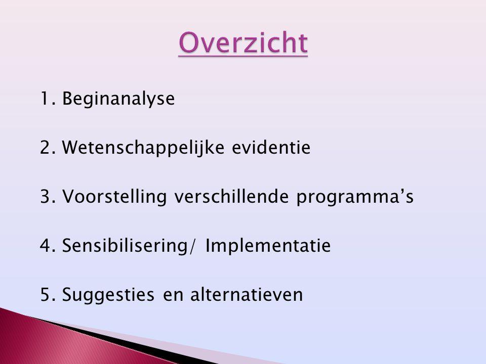 1. Beginanalyse 2. Wetenschappelijke evidentie 3. Voorstelling verschillende programma's 4. Sensibilisering/ Implementatie 5. Suggesties en alternatie