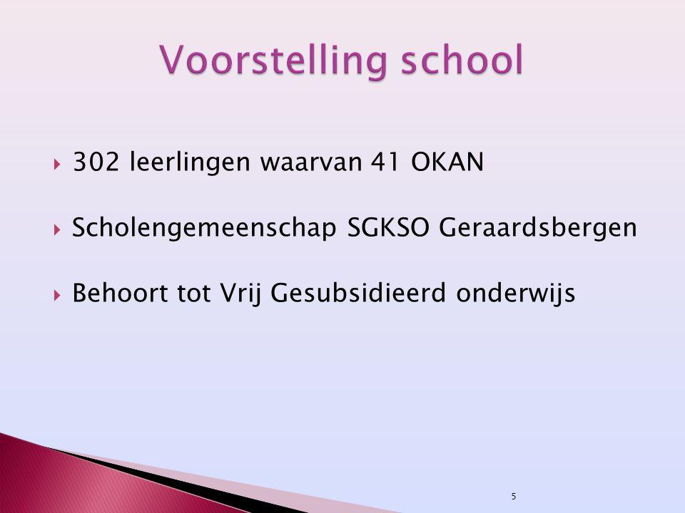 5  302 leerlingen waarvan 41 OKAN  Scholengemeenschap SGKSO Geraardsbergen  Behoort tot Vrij Gesubsidieerd onderwijs