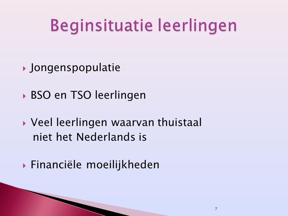 7  Jongenspopulatie  BSO en TSO leerlingen  Veel leerlingen waarvan thuistaal niet het Nederlands is  Financiële moeilijkheden