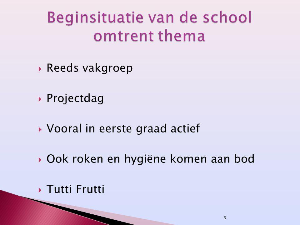 9  Reeds vakgroep  Projectdag  Vooral in eerste graad actief  Ook roken en hygiëne komen aan bod  Tutti Frutti