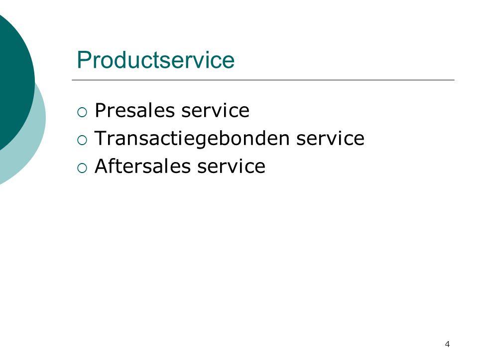 4  Presales service  Transactiegebonden service  Aftersales service