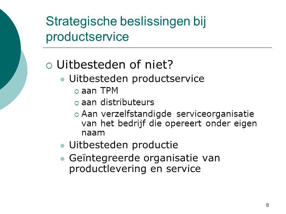 8 Strategische beslissingen bij productservice  Uitbesteden of niet? Uitbesteden productservice  aan TPM  aan distributeurs  Aan verzelfstandigde