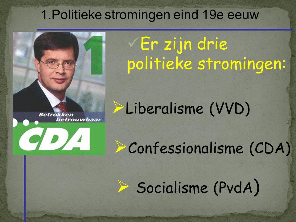 1.Politieke stromingen eind 19e eeuw Er zijn drie politieke stromingen:  Liberalisme (VVD)  Confessionalisme (CDA)  Socialisme (PvdA )