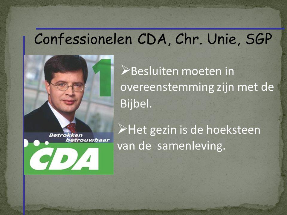 Confessionelen CDA, Chr.Unie, SGP  Besluiten moeten in overeenstemming zijn met de Bijbel.