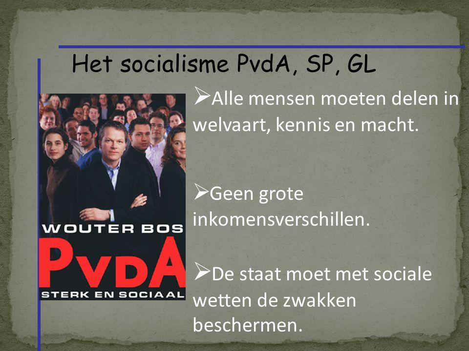 Het socialisme PvdA, SP, GL  Alle mensen moeten delen in welvaart, kennis en macht.