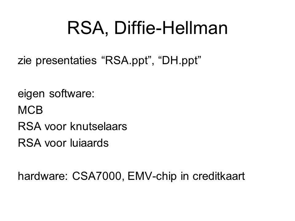 """RSA, Diffie-Hellman zie presentaties """"RSA.ppt"""", """"DH.ppt"""" eigen software: MCB RSA voor knutselaars RSA voor luiaards hardware: CSA7000, EMV-chip in cre"""