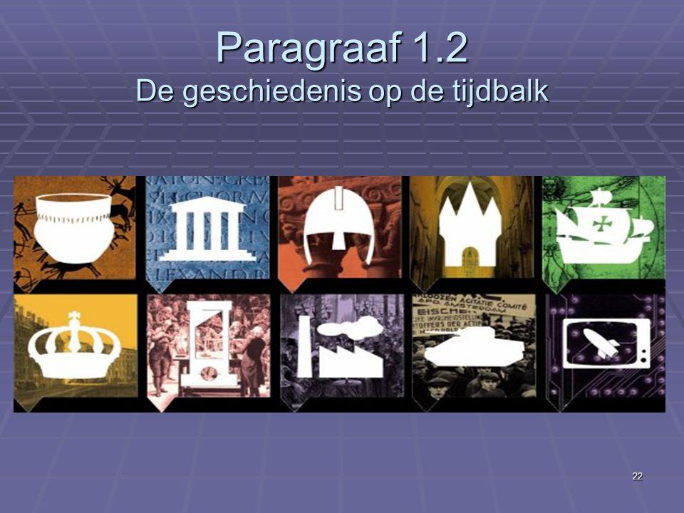 22 Paragraaf 1.2 De geschiedenis op de tijdbalk
