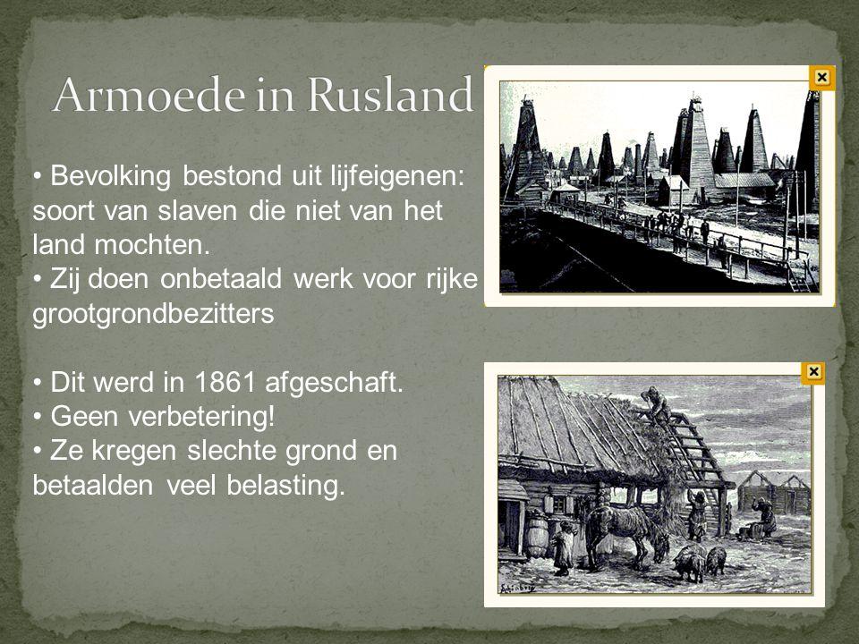 Bevolking bestond uit lijfeigenen: soort van slaven die niet van het land mochten. Zij doen onbetaald werk voor rijke grootgrondbezitters Dit werd in