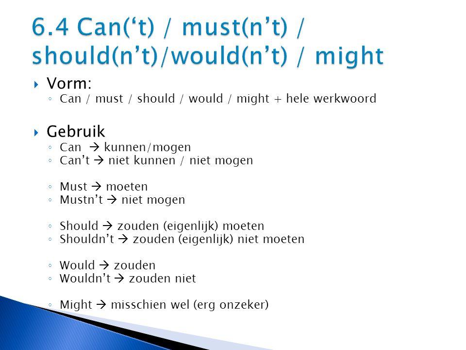  Vorm: ◦ Can / must / should / would / might + hele werkwoord  Gebruik ◦ Can  kunnen/mogen ◦ Can't  niet kunnen / niet mogen ◦ Must  moeten ◦ Mustn't  niet mogen ◦ Should  zouden (eigenlijk) moeten ◦ Shouldn't  zouden (eigenlijk) niet moeten ◦ Would  zouden ◦ Wouldn't  zouden niet ◦ Might  misschien wel (erg onzeker)