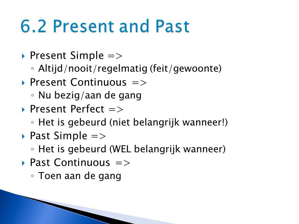  Present Simple => ◦ Altijd/nooit/regelmatig (feit/gewoonte)  Present Continuous => ◦ Nu bezig/aan de gang  Present Perfect => ◦ Het is gebeurd (niet belangrijk wanneer!)  Past Simple => ◦ Het is gebeurd (WEL belangrijk wanneer)  Past Continuous => ◦ Toen aan de gang