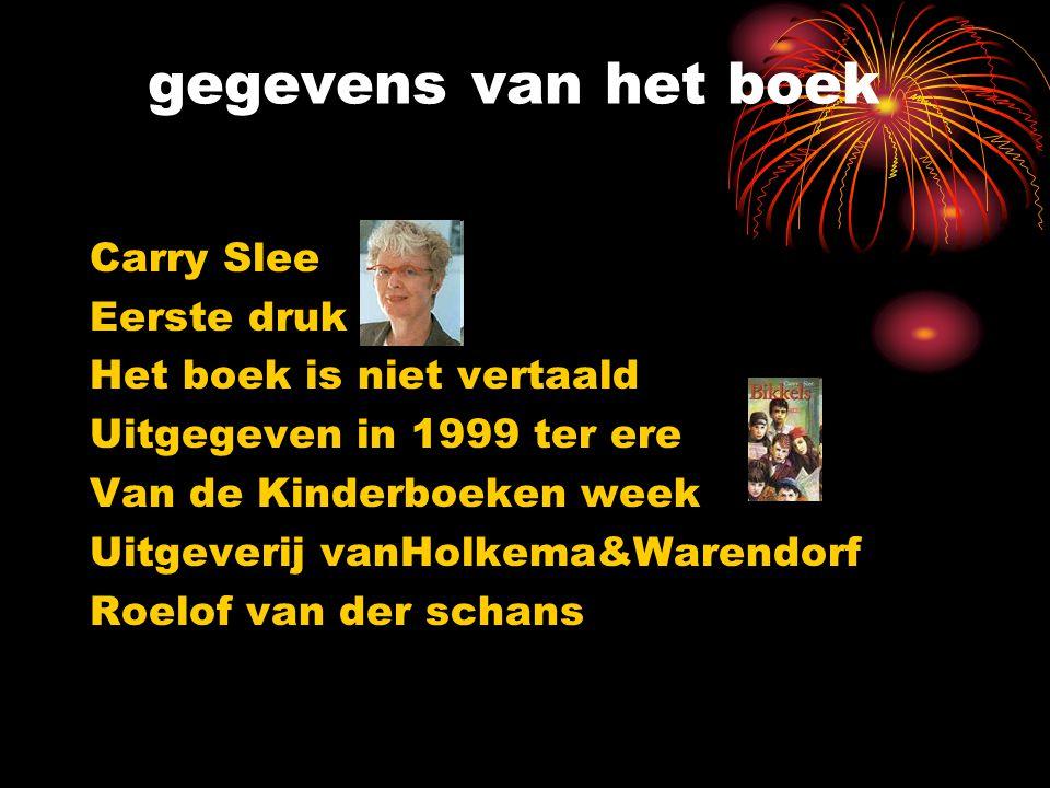 gegevens van het boek Carry Slee Eerste druk Het boek is niet vertaald Uitgegeven in 1999 ter ere Van de Kinderboeken week Uitgeverij vanHolkema&Waren