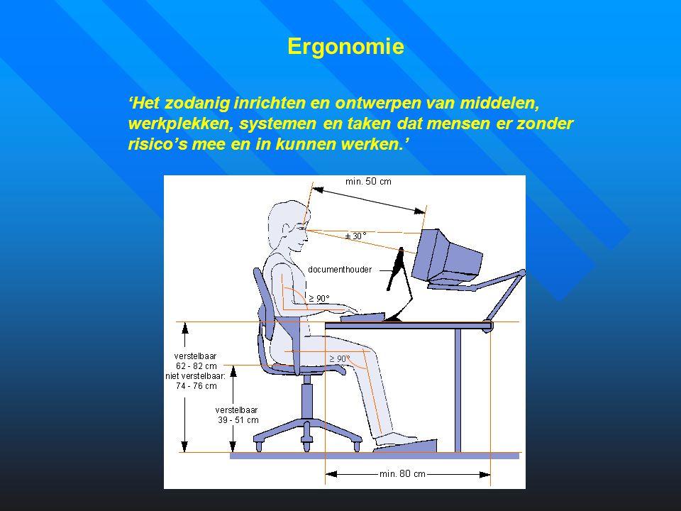 Computer-ergonomie Startpunt om gezond te computeren Computerergonomie draait om het ontwerp en opstelling van: stoel en tafel het beeldscherm, toetsenbord en muis laptops omgevingsfactoren software