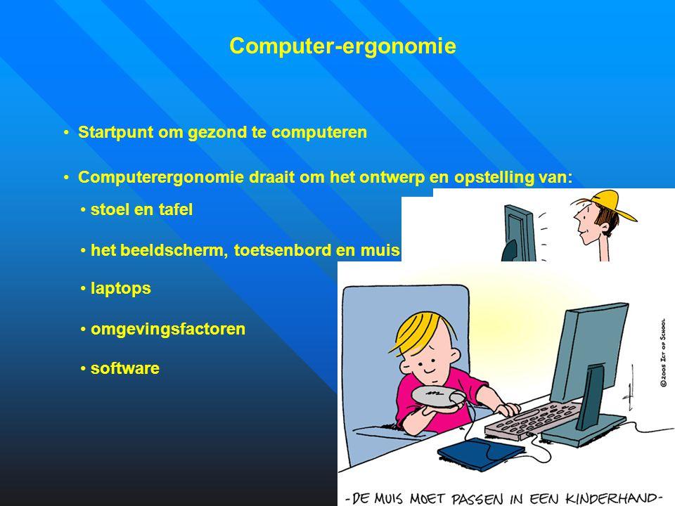 Computer-ergonomie Startpunt om gezond te computeren Computerergonomie draait om het ontwerp en opstelling van: stoel en tafel het beeldscherm, toetse